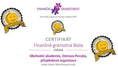 Zlatý certifikát Finančně gramotná škola