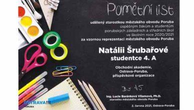 Ocenění studentky Natálie Šrubařové