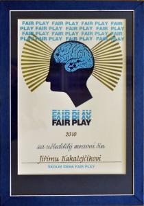 Školní cena Fair play pro Jiřího Kakalejčíka (30. 03. 2011)